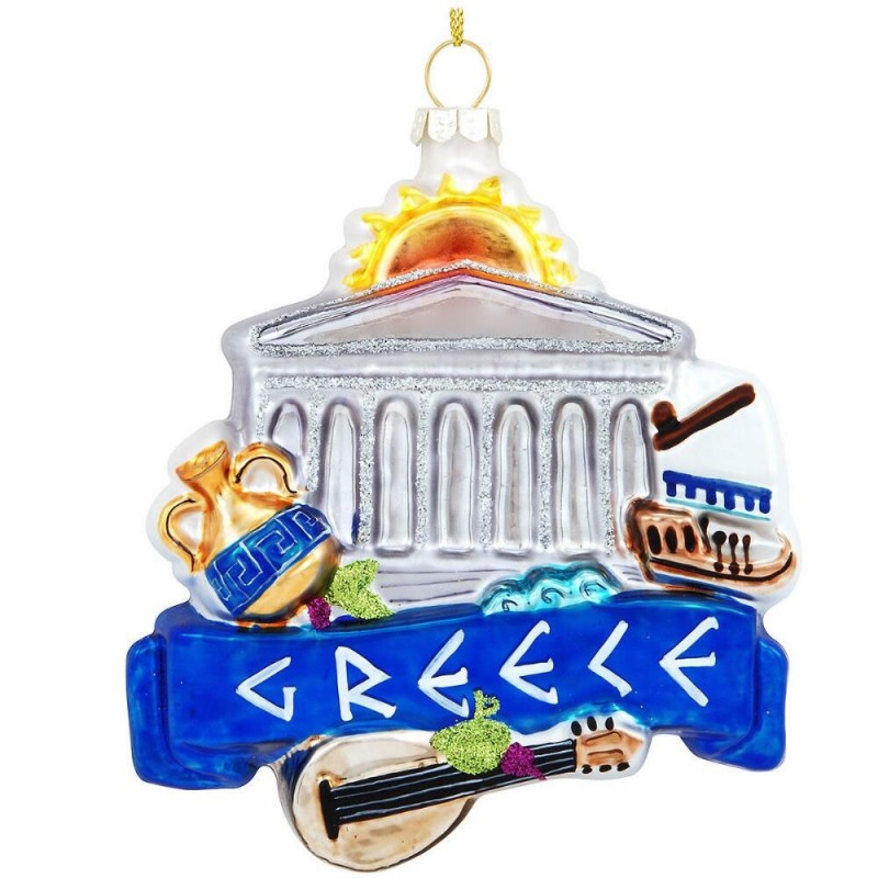Greece Landmarks Glass Ornament