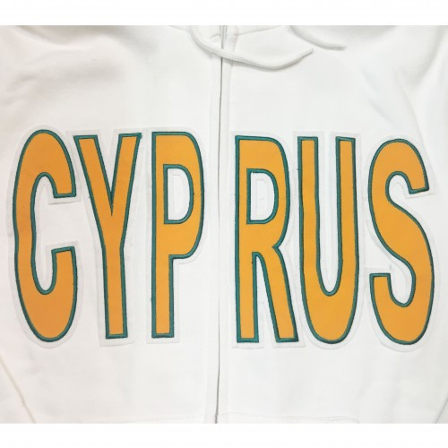 Cyprus White Hooded Adult Jacket