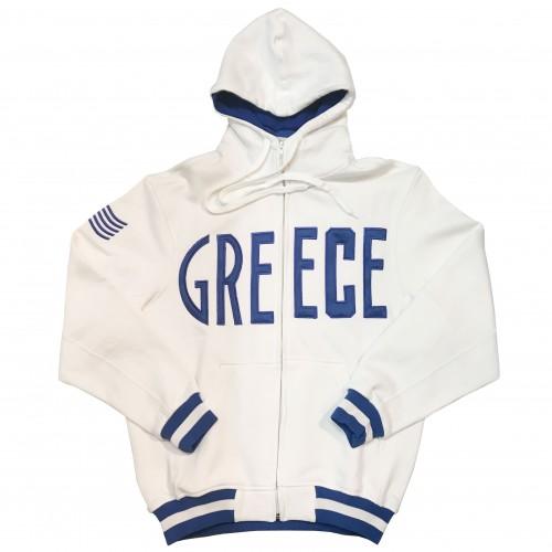 Greece White Hoodie